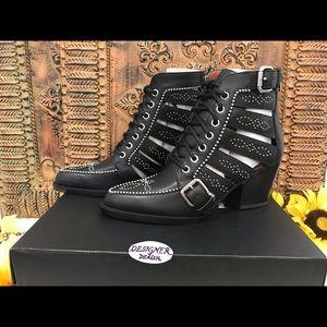 COACH Paisley Studded Booties NIB Black G5205